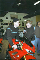 Dave and Andy discussing the finer points of the bike!