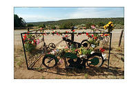 A bikers grave site near Santa Fe, New Mexico