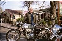 "Skip with his custom Triumph ""cafe racer"""