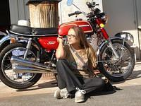 Ava and her CB 350 Four
